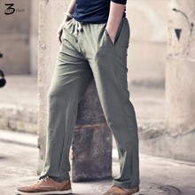 XMY3DWX мужская Хлопок и лен в весенние брюки мужские белье тонкие модели/Мужской эластичный пояс свободно комфортно haroun брюки