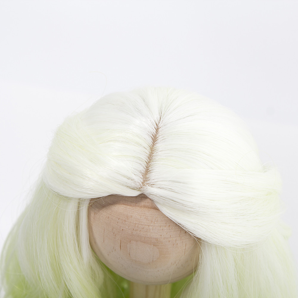 1 3 1 4 BJD SD Doll Wig Hair Heat Resistant Fiber Long Curly White Green Blue Ombre Color Wigs for BJD SD Dolls in Dolls Accessories from Toys Hobbies