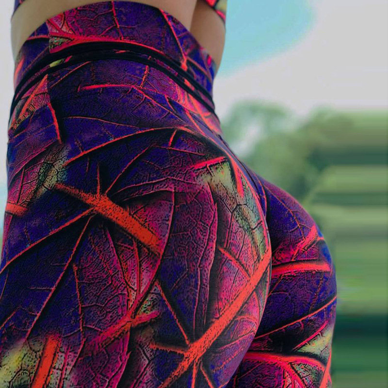 2019 Fuchsia color   Leggings   Sample Women's Diamond Color Stitching Legings Digital Print Pants Trousers Stretch Pants Plus Size