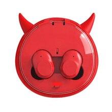 Демон Беспроводной наушники близнецов наушники Bluetooth гарнитуры СПЦ наушники с заряда в поле с микрофоном Шум отменить мультфильм подарок