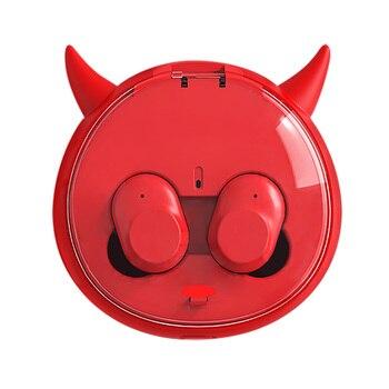 Iblis kablosuz kulaklıklar Twins Kulaklık bluetooth kulaklık TWS Kulakiçi Ile Şarj Kutusu Ile Mikrofon Gürültü Iptal Karikatür Hediye