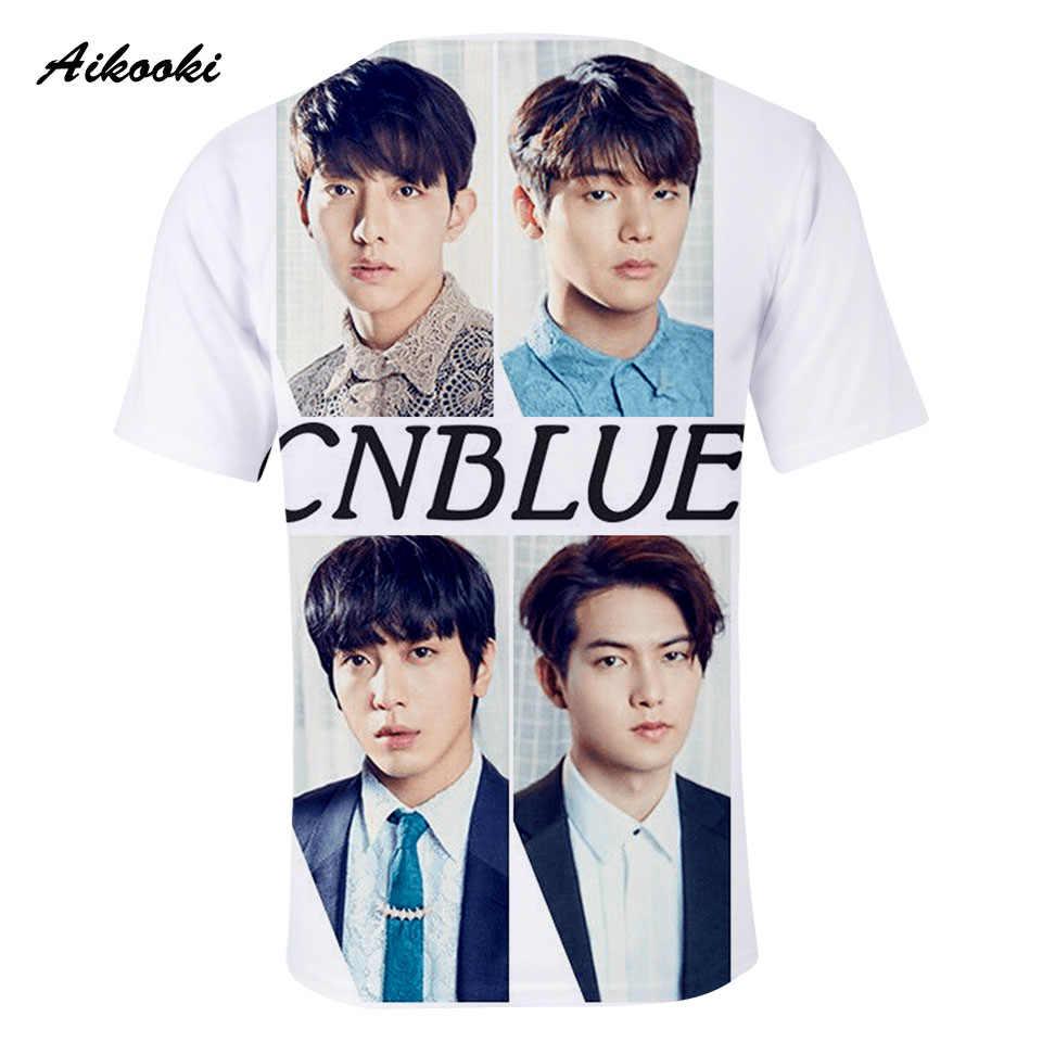 Black Chic Vogue Elegant HipHop K-pop Rock Band 3D Character CNBLUE T- Shirts Short Sleeve O-Neck T-shirt Cool Tops Handsome Tee