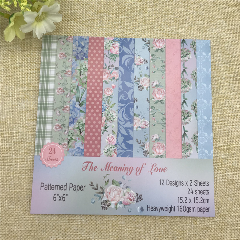 12 Sheets The Meaning of Love patterned paper Scrapbooking paper pack handmade craft paper craft Background pad オフショル 水着 花 柄