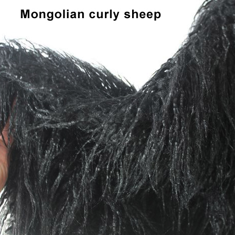 Black  Mongolian Curly Sheep Faux Fur Fabric  Baby Photography Props  Fur Coat  Top Quality Sold By The Yard  Free Shipping
