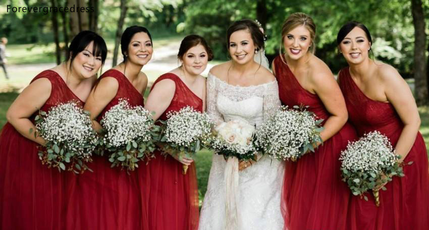 Cheap One Shoulder Bridesmaid Dresses 2019 A Line Summer Beach Country Garden Wedding Party Guest Maid Of Honor Gowns Plus Size