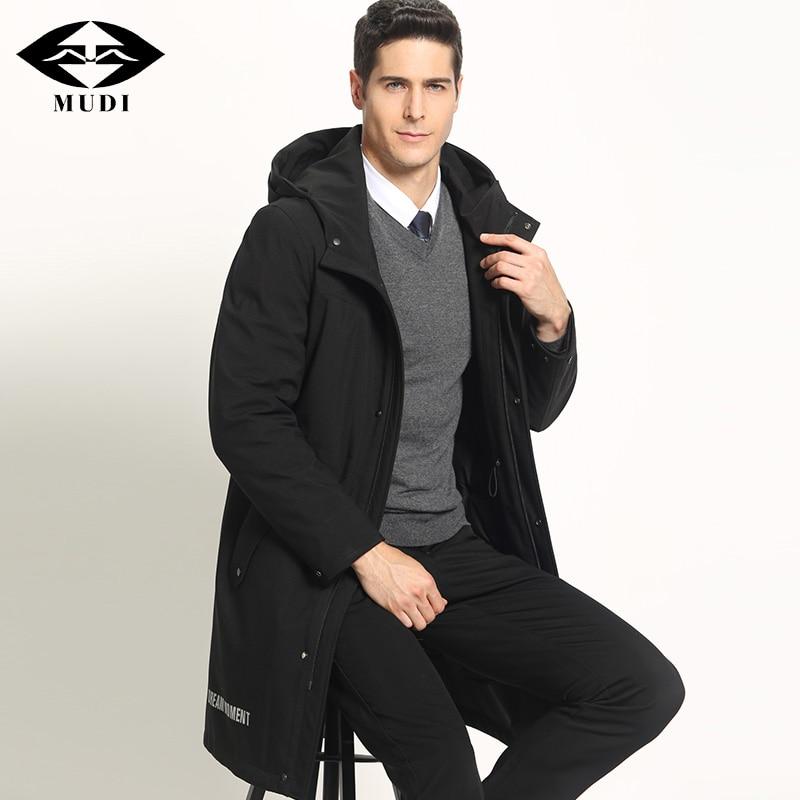 MUDI Mens Down Coats 90% Duck Down Winter Jacket for Men Warm Parka Male Long Down Jacket Hooded Warm Outwear Coat Plus Size