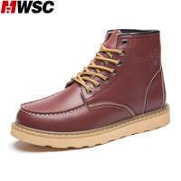 MWSC 2016 Winter New Design Man Fashion Working Boots Men S Leather Outdoor Warm Casual High