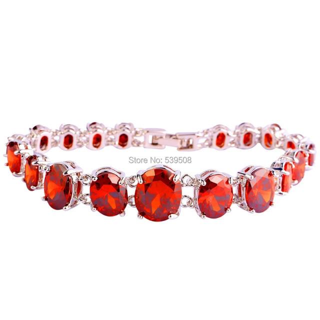 2017 New Fashion Saucy Oval Cut Red Garnet  Silver Bracelets Nice Jewelry Gift Wholesale 17.5 CM