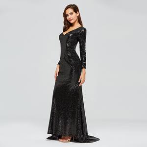 Image 3 - Dressv black evening dress v neck long sleeves sequins mermaid floor length wedding party formal dress trumpet evening dresses