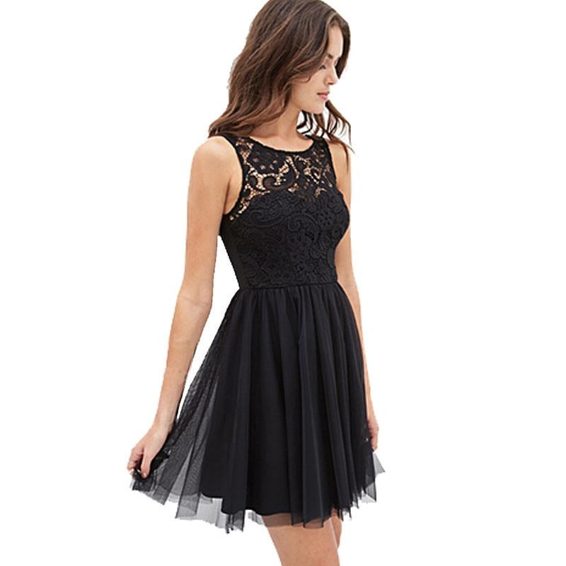 2918 Summer New Women Chiffon Dress Female Sexy Hollow Out Mesh Lace Mini Dresses Women Off Shoulder Backless Vestido Flare Dess