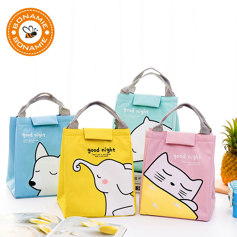 BONAMIE New Thermal Lunch Bag Cute Animals Printed Waterproof Oxford Cartoon Tote Cooler Bag Girl Portable Insulated Picnic Bag