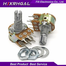 5PCS  WH148 B10K 6PIN 10K ohmPotentiometer 15mm Shaft With Nuts And Washers Hot