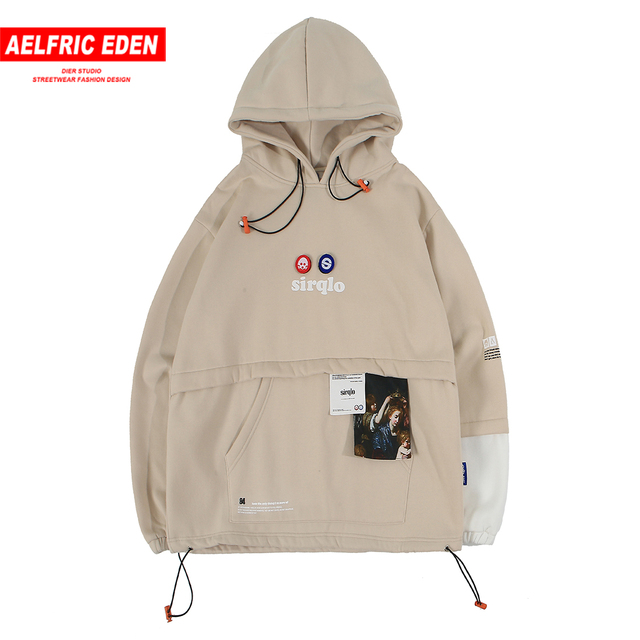 Aelfric Eden Patchwork Front Pockets Hoodies Mens Autumn Harajuku Streetwear Hip Hop Casual Pullover Fashion Hooded Sweatshirts