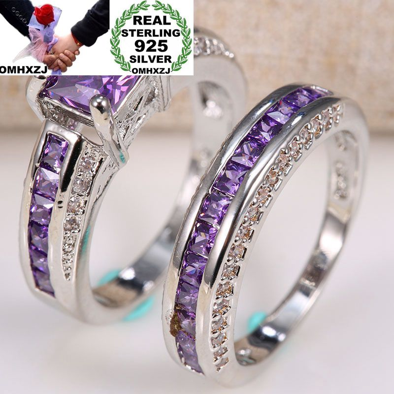 OMHXZJ Wholesale European Fashion Woman Man Party Wedding Gift Square Amethyst AAA Zircon 925 Sterling Silver Ring Set RR76