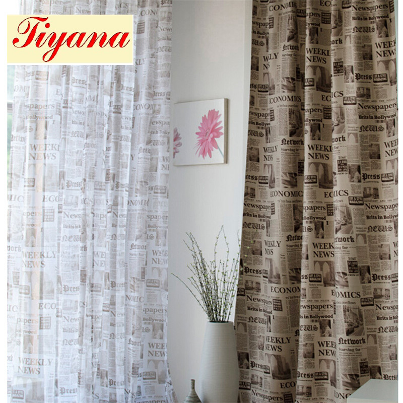 Fancy modern printed newspaper blackout curtain blind drape sheer curtain fabric Tulle Voile for living room bedroom WP227 *20