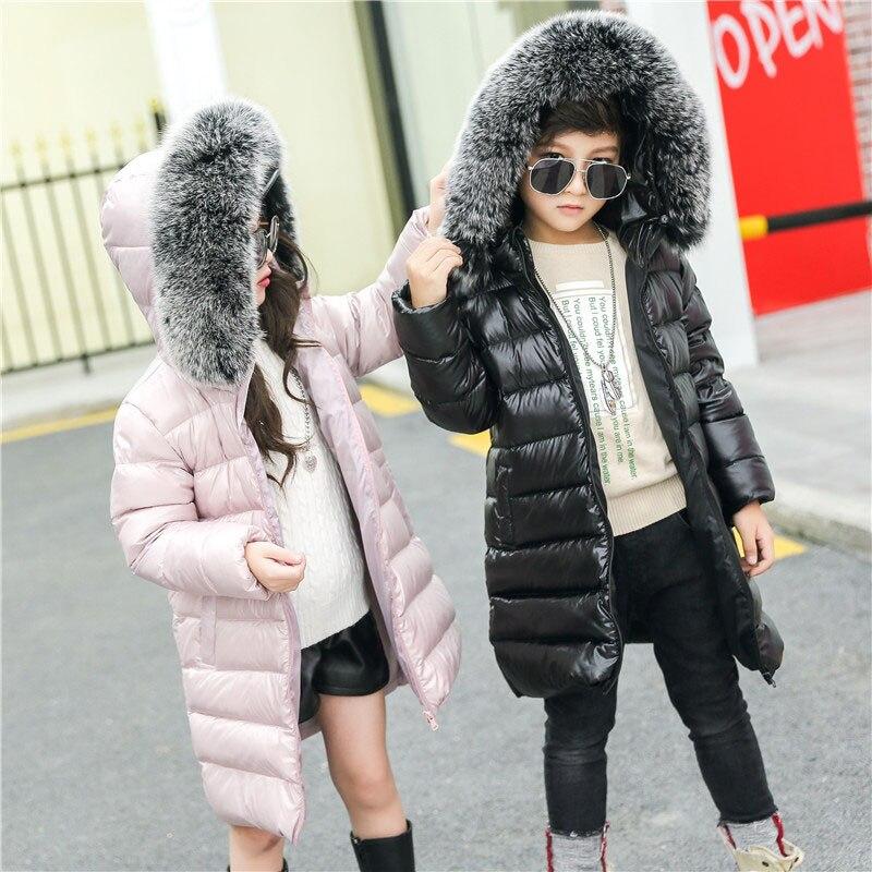 2fc8eb75c girls winter 90% white duck down padded jacket real fox fur parkas ...