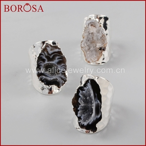 Image 5 - BOROSA Elegant Druzy Silver Color Freeform Natural Crystal Druzy Open Band Rings, Fashion Natural Gems Women Party Rings S1388