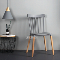 EC 13 Simple Dining Chair Modern Plastic Chair Backrest Leisure Chair Negotiation Chair Easy Chair Solid Wood Leg Casual Chair