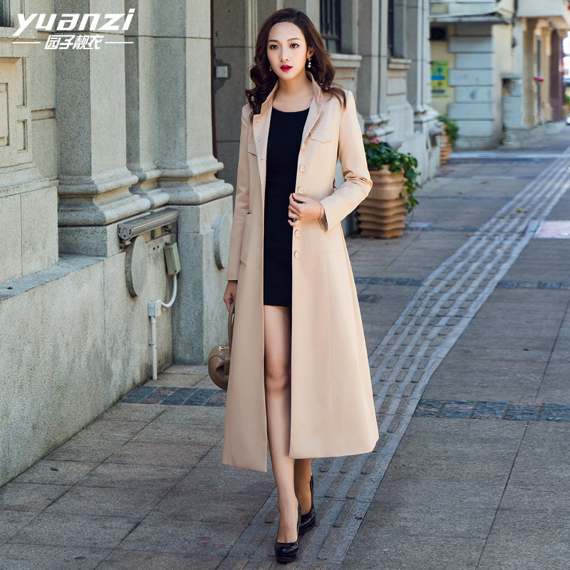 2018 New Spring Coat Women Clothing Stand Collar Single Breasted Slim Long Trench Coat Female Overcoat Large Size Windbreaker