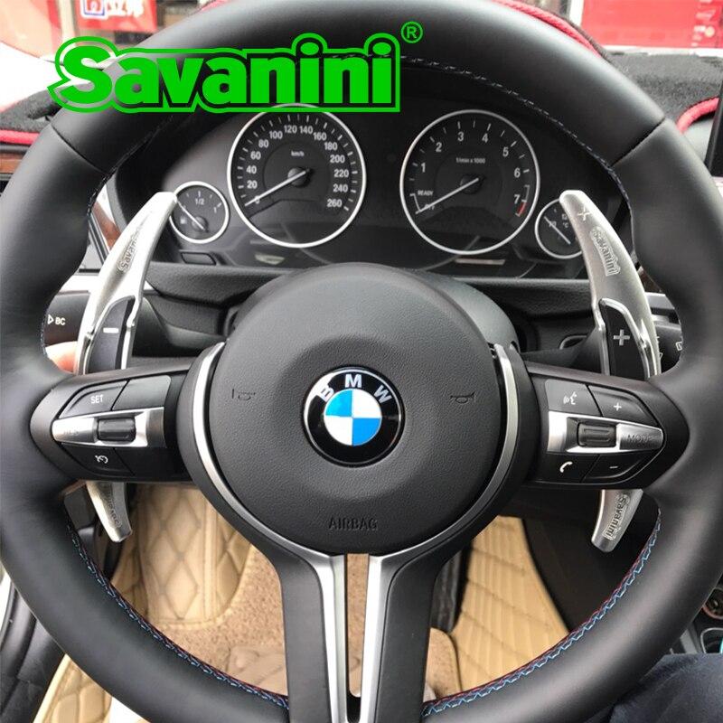Savanini Aluminum Steering Wheel DSG Shift Paddle Shifter Extension For BMW M3 M4 M5 M6 X5M X6M auto car styling sticker free savanini 2pcs aluminum steering wheel shift paddle shifter gear extension for ford mustang 2015 up auto car styling sticker free