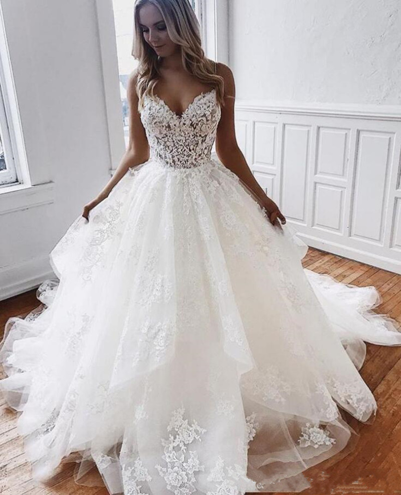 b10de76b88 Sexy A Line Wedding Dress with Lace Appliques Sequins Backless Spaghetti Tulle  Robe De Mariee Designed For Summer Beach Wedding ~ Super Deal July 2019