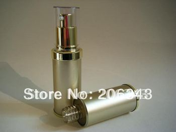 30ML gold airless plastic lotion bottle wiith airless pump can used for Cosmetic Sprayer or Cosmetic Packaging