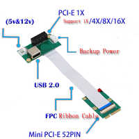 Laptop Mini PCI-E to Desktop PCI-E 1X Adapter Converter Riser Card Ribbon Cable for External GPU Graphics Video Card EXP GDC