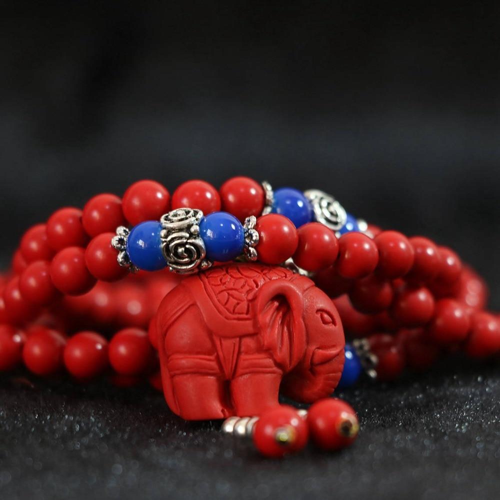 Daha satırlar yeni sentetik kırmızı cinnabar 6mm 108 boncuk fil - Kostüm mücevherat - Fotoğraf 2