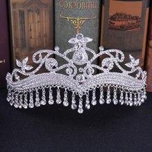 KMVEXO de lujo borla de diamantes de imitación de novia Tiaras cristal flor diadema velo corona, accesorios para el cabello de boda flores