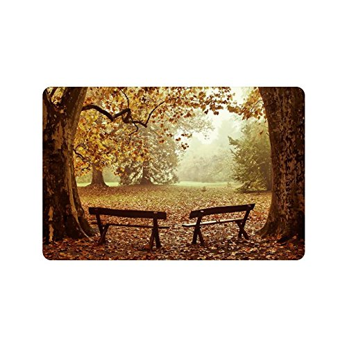 Autumn Park Benches Anti-slip Door Mat Home Decor, Fall Wood Tree Indoor Outdoor Entrance Doormat Rubber Backing
