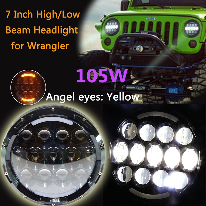 Pair Daymaker led headlight 7inch Hi/Lo beam H4 Headlamp With White DRL Amber Turn signal angel eyes for Jeep Wrangler JK TJ LJ 7 inch 120w 9000 lumen hi lo beam led headlights with half top halo ring angel eyes drl turn signal for jeep wrangler jk tj lj