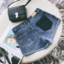 Старинные разорвал отверстие голубой бахромой джинсовые шорты женщин Случайные Высокой Талией джинсовые шорты 2017 лето горячие девушки шорты