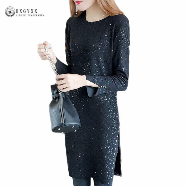ca1392647a091 5XL Plus Size Knitted Dress 2019 Autumn Winter Club Factory Black Fashion O  Neck Splited Side