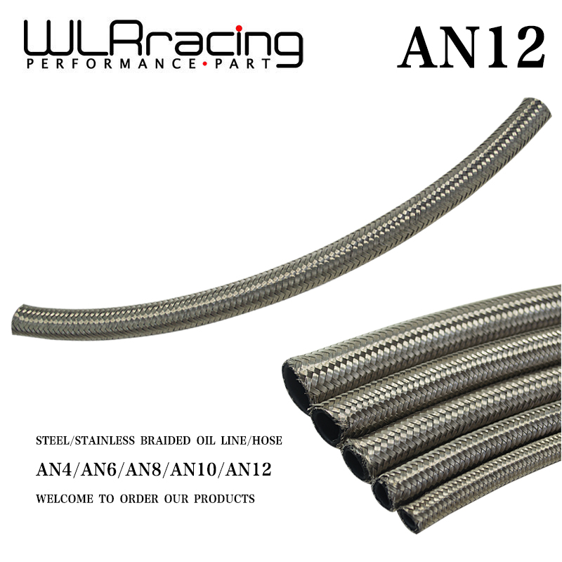 Wlr Racing Stainless Steel Braided Fuel Oil Line Water Hose One Feet 0.3m Wlr7115-1 17.5mm / 17/25 Id An12 12an An-12