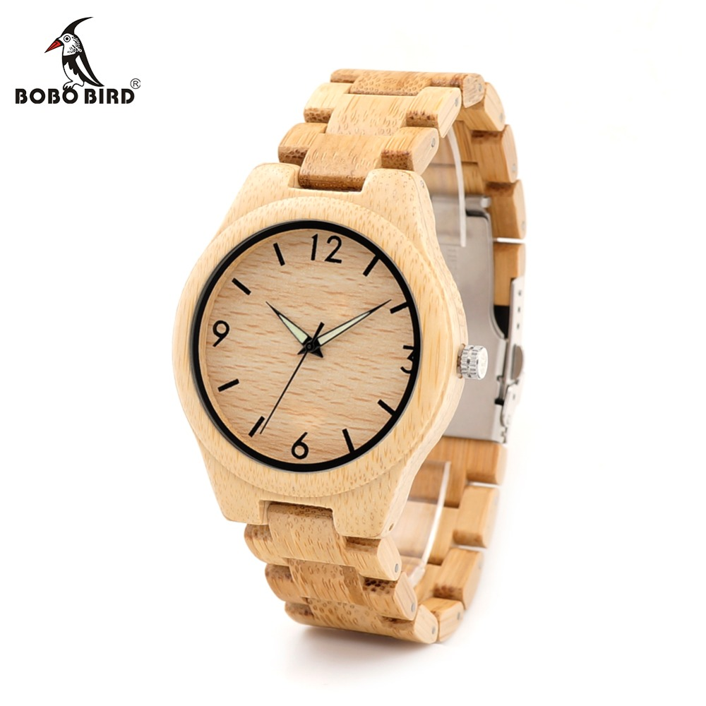 BOBO BIRD CdG25 Men Luminous Needles Wooden Watches Fashion Casual Digital Face with Bamboo Band Erkek