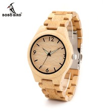 BOBO BIRD G25 Men Luminous Needles Wooden Watches Fashion Casual Digital Face with Bamboo Band Erkek Clock in Gift Box