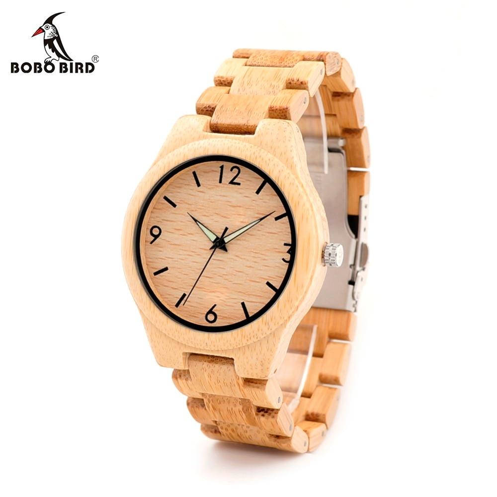 BOBO BIRD LG25 Men Luminous Needles Wooden Watches Fashion Casual Digital Face with Bamboo Band Erkek Clock in Gift Box bobo bird e03 men led watches hexagonal digital clock mujer with 100