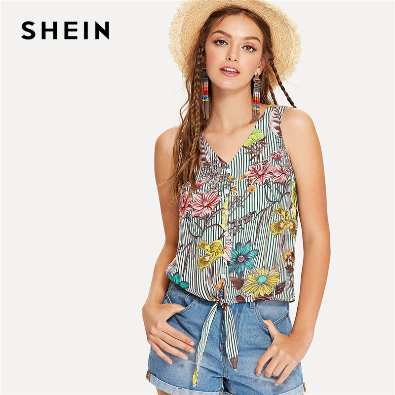 SHEIN Multicolor Vacation Boho Bohemian Beach Floral Print Striped V Neck Knot Button Tank Summer Women Cool Vest Top