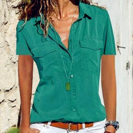 2019 Short Sleeve Chiffon Tops Women   Blouses   Ruffles Vintage Summer Button Elegant Plus Sizes Lady Pocket Casual   Shirts   Blousa