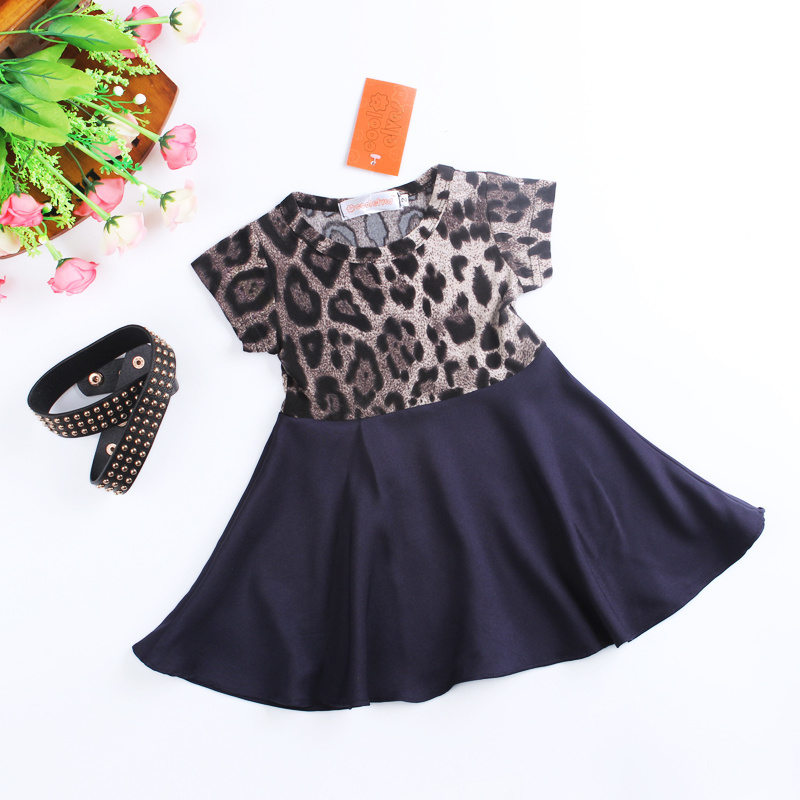 Girl Dress With Belt Two Pcs Set 2019 New Arrival Baby Girls Fashion Leopard Dresses Girls Leopard Short Sleeve Dresses in Dresses from Mother Kids