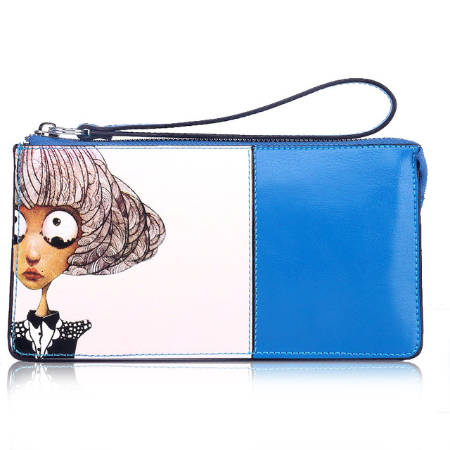 2016 Hot Fashion Zipper Clutch Bag Handbag Day Clutches Women Leather Cartoon Printing Long Purse Card Holder Wallets Girl Bags