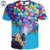 Mikeal 2015 New Fashion Spring Summer T Shirt Cartoon Print Skull Cat Balloon Star Casual