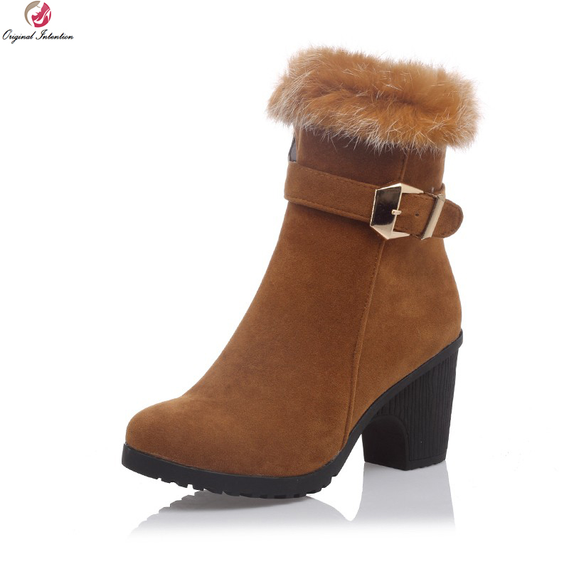 Original Intention Women Ankle Boots Elegant Round Toe Square Heels Boots Fashoin Black Beige Brown Shoes Woman US Size 4-10.5 berdecia hollow out ankle round toe women boots low square heels cross tied female shoes elegant riding equeatrian women boots