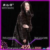 Customizable Real mink fur winter coat for women Hood Long thick warm fur coat Natural fur Genuine Leather Real fur coat women