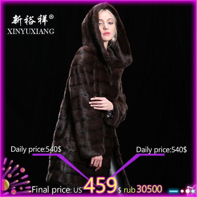 Personnalisable Réel de fourrure de vison manteau d'hiver pour femmes Capuche Long et épais chaud manteau de fourrure fourrure Naturelle En Cuir Véritable de la Vraie fourrure manteau femmes