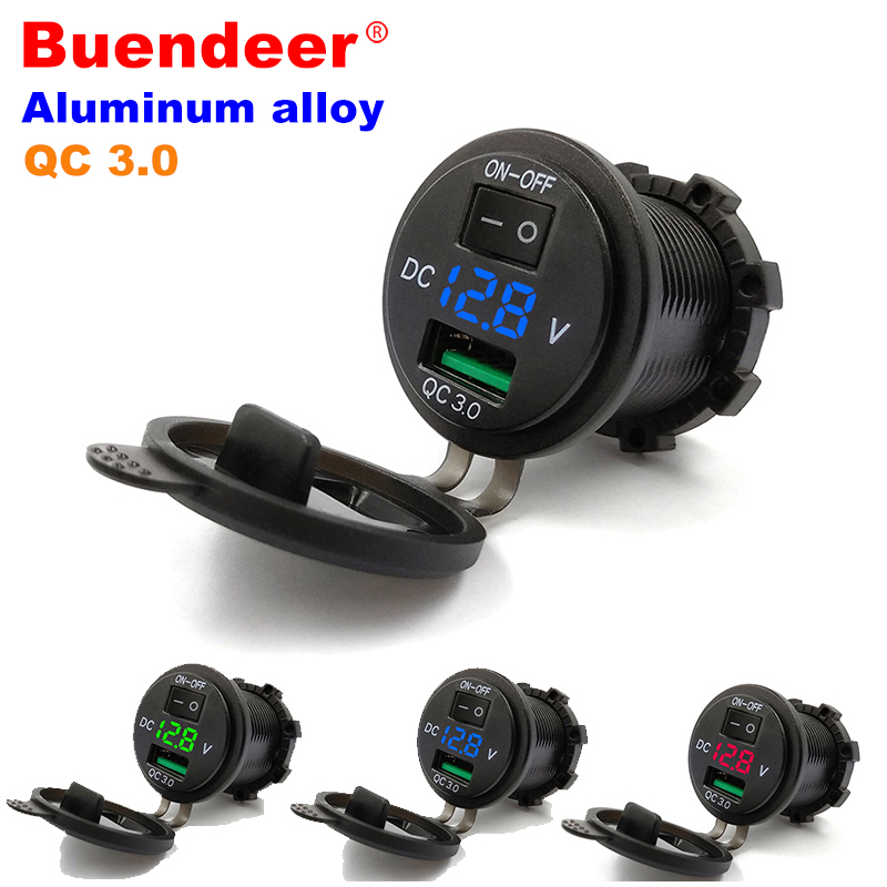 Buendeer Lighter Adapter Outlet Boat Usb Cigarette Motorcycle Waterproof Power-Switch