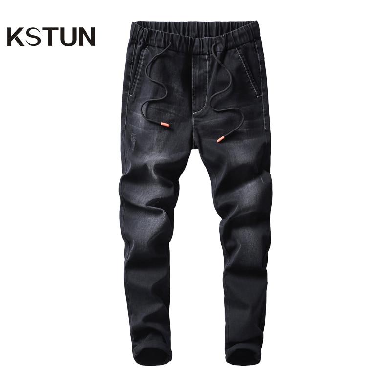 KSTUN Black Jeans Men 2020 Autumn Elastic Waist Drawstring Skinny Slim Fit Casual Pants Male Trousers Streetwear Quality Brand
