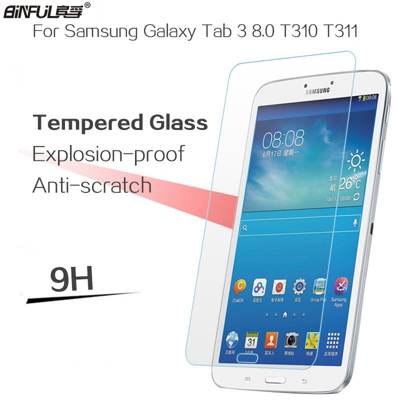BINFUL grūdintas stiklas ekrano apsaugas Samsung Galaxy Tab 3 8.0 T310 T311 tabletės grūdintas apsauginė plėvelė