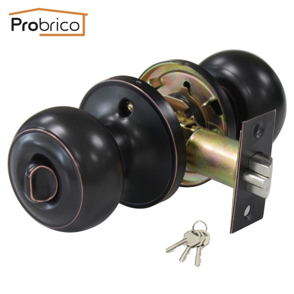 Probrico Stainless Steel Safe Lock Security Door Lock With Key Oil Rubbed Bronze Door Handle Entrance Locker DL609ORBET цена