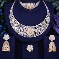 GODKI Luxury Flower Women Nigerian Wedding Naija Bride Cubic Zirconia Necklace Dubai 4PCS Jewelry Set Jewellery Addiction